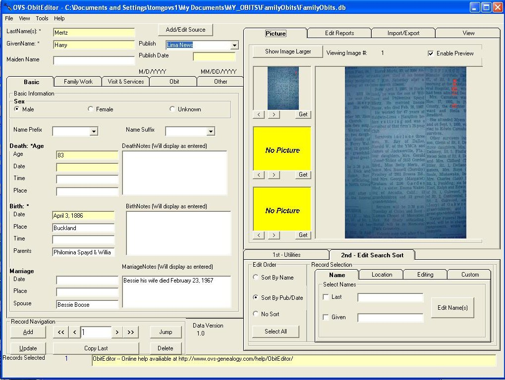 Obituary transcription and management software screen shot ObitEditor (180K)