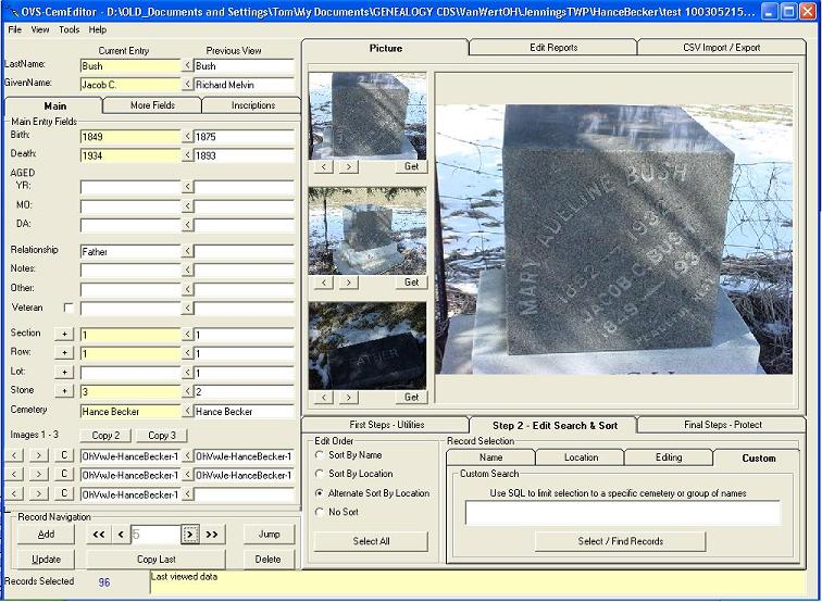 Cemetery transcription and management software screen shot CemEditor (102K)